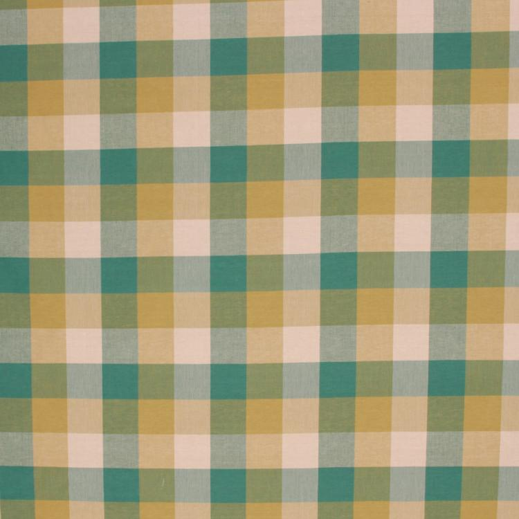 Check Plaid Drapery Fabric Green Teal Yellow Beige / Blue Spruce