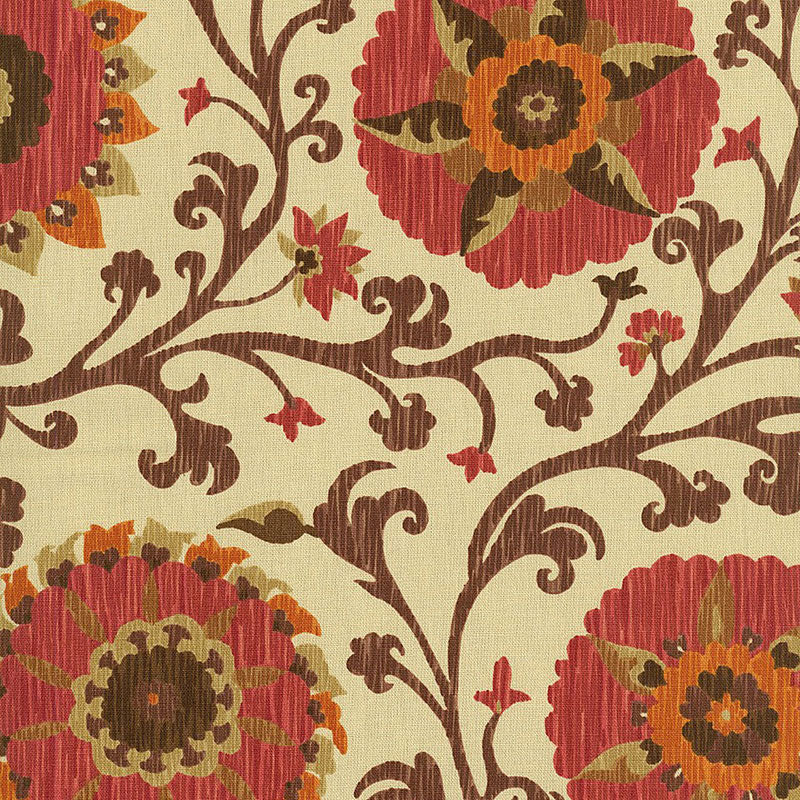 SCHUMACHER FERGANA EMBROIDERY PRINT FABRIC 1327002 / RAISIN