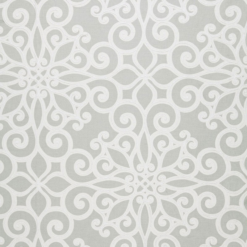 SCHUMACHER ROSEGATE EMBROIDERED PRINT FABRIC 174562 / PUMICE