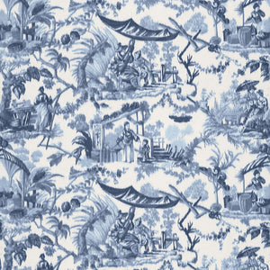 SCHUMACHER PAVILLON CHINOIS FABRIC 175101 / LAPIS