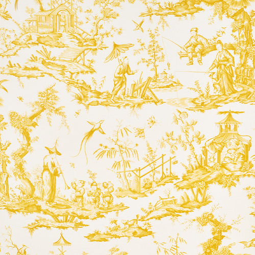 SCHUMACHER SHENGYOU TOILE FABRIC 175805 / YELLOW