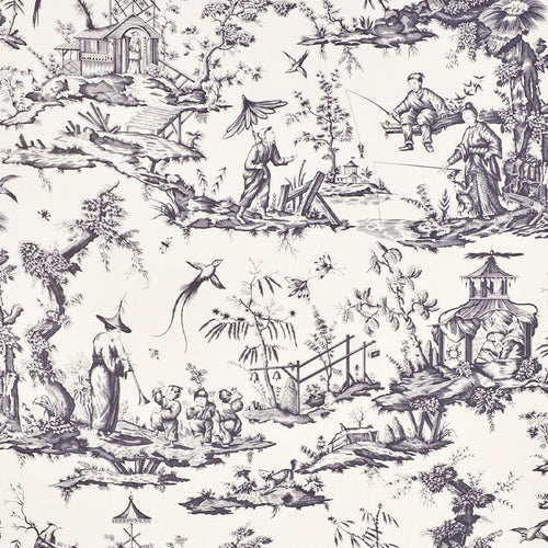 SCHUMACHER SHENGYOU TOILE FABRIC 175806 / BLACK
