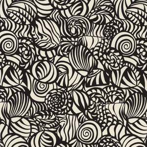 SCHUMACHER SEASHELLS INDOOR OUTDOOR FABRIC 176681 / BLACK