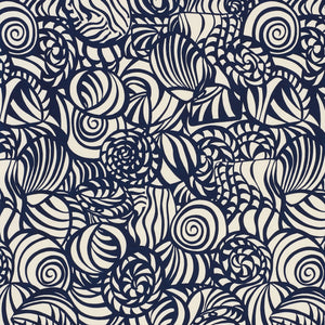 SCHUMACHER SEASHELLS INDOOR OUTDOOR FABRIC 176682 / NAVY