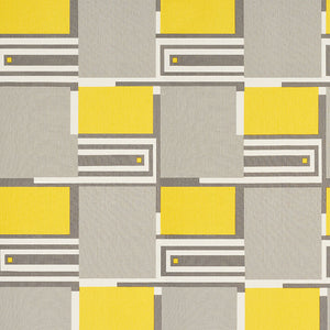 SCHUMACHER DESIGN 101 FABRIC 176860 / GREY & YELLOW