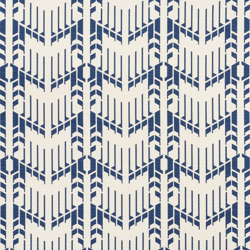 SCHUMACHER PRICE HOUSE PRINT FABRIC / BLUE
