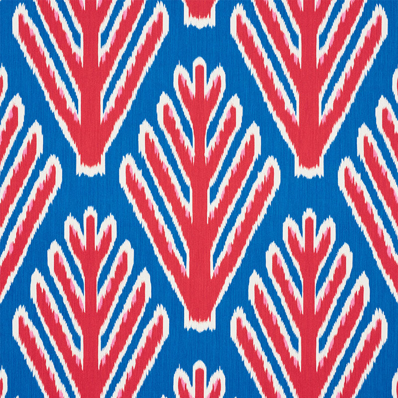 SCHUMACHER BODHI TREE FABRIC 178561 / BLUE & RED