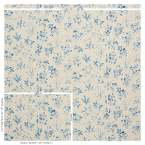 SCHUMACHER FLOREANA FABRIC 178790 / BLUE