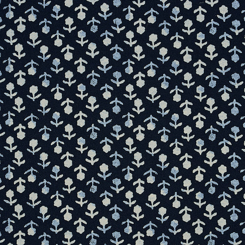 Schumacher Beatriz Hand Blocked Print Fabric 179351 / Indigo