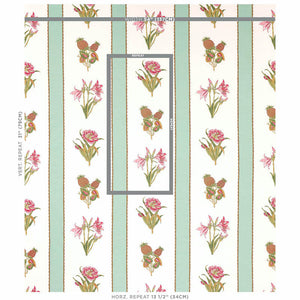 Schumacher Servilia Stripe Fabric 179640 / Aqua