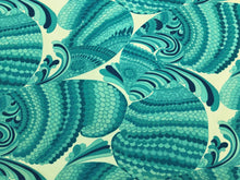 Load image into Gallery viewer, Schumacher Pisces Print Pool Nautical Aqua Navy Turquoise Blue Cream Art Deco Abstract Outdoor Upholstery Fabric