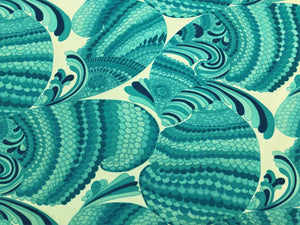 Schumacher Pisces Print Pool Nautical Aqua Navy Turquoise Blue Cream Art Deco Abstract Outdoor Upholstery Fabric