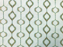 Load image into Gallery viewer, Kravet Design Embroidered Olive Seafoam Aqua Green Off White Trellis Geometric Cotton Drapery Fabric