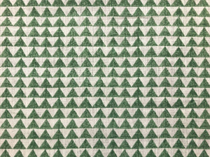 Designer Pyramids Block Printed Linen Green Off White Geometric Fabric