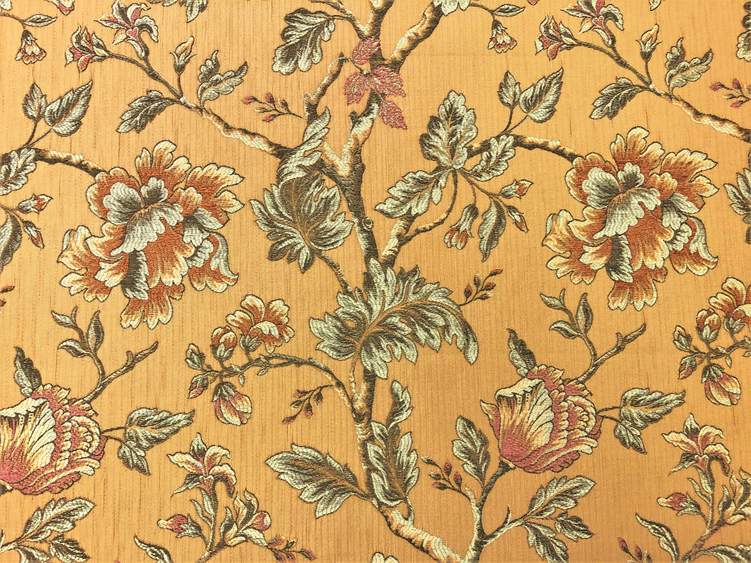 Kravet Floral Botanical Mustard Gold Rusty Brown Coral Woven Upholstery Drapery Fabric
