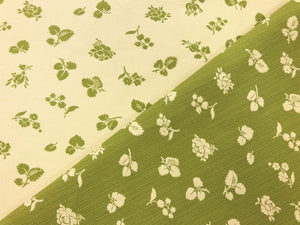 Reversible Kravet Beige Lime Green Small Scale Floral Strie Botanical Upholstery Drapery Fabric