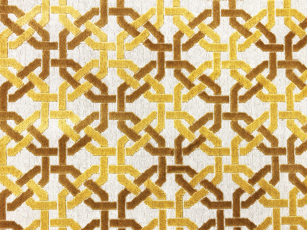 Designer Gros Point Epingle Beige Mustard Gold Fretwork Trellis Geometric Velvet Upholstery Fabric