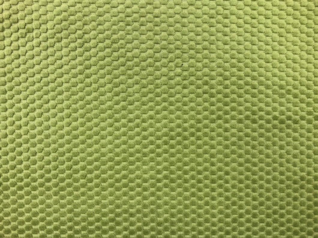 Lime Green Water & Stain Resistant Nubby Small Scale Geometric Velvet Upholstery Fabric
