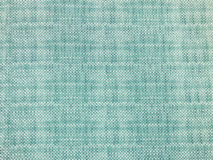 Designer Indoor Outdoor Water & Stain Resistant Teal Blue Off White Small Scale Geometric MCM Mid Century Modern Upholstery Drapery Fabric