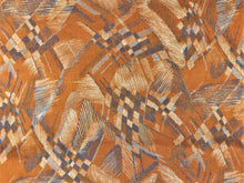 Load image into Gallery viewer, Vintage Mod Retro Abstract Caramel Rusty Brown Navy Blue Gray Water & Stain Resistant Upholstery Velvet Drapery Fabric