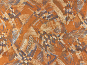 Vintage Mod Retro Abstract Caramel Rusty Brown Navy Blue Gray Water & Stain Resistant Upholstery Velvet Drapery Fabric