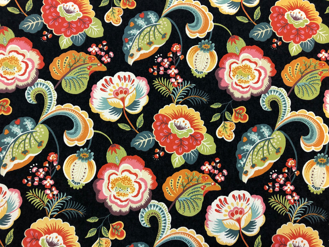 Pleasanties Fiesta Mill Creek Soil Repellent Black Coral Yellow Orange Teal Green Jacobean Floral Cotton Upholstery Drapery Fabric