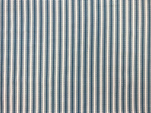Load image into Gallery viewer, Reversible Designer Woven French Blue Cream Ivory Geometric Stripe Nautical Upholstery Drapery Fabric