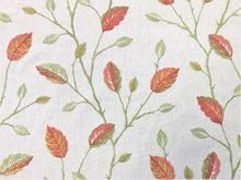 Load image into Gallery viewer, Floral Embroidered Ivory Rusty Red Green Botanical Leaves Pattern Drapery Fabric