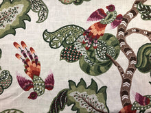 Load image into Gallery viewer, P Kaufman Soil & Stain Repellent Jacobean Floral Botanical Ivory Green Fuchsia Rusty Red Orange Brown Drapery Fabric