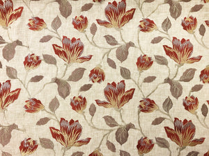 Designer Rust Brown Beige Taupe Floral Embroidered Cotton Linen Upholstery Drapery Fabric