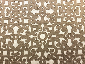 Beige Taupe Figural Renaissance Filigree Pattern Drapery Fabric