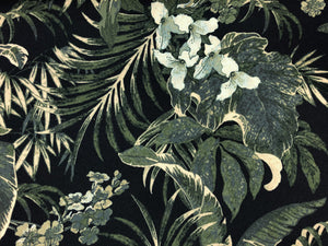 Navy Blue Emerald Green Beige Tropical Floral Botanical Upholstery Drapery Fabric