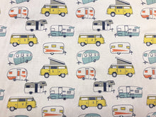 Load image into Gallery viewer, Premier Prints Cotton Cream Camper Print Yellow Orange Navy Blue Gray Fabric