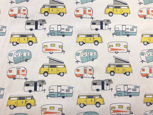 Premier Prints Cotton Cream Camper Print Yellow Orange Navy Blue Gray Fabric