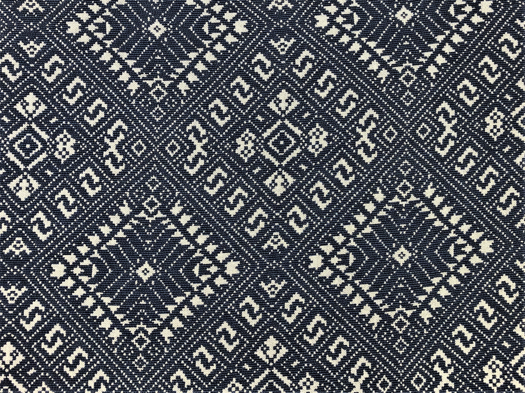 Jasper Fabrics Michael Smith Marina Deep Ocean Indoor Outdoor Navy Blue Gray Water & Stain Resistant Tribal Upholstery Drapery Fabric