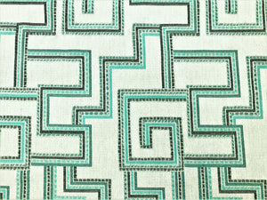 Sunbrella Indoor Outdoor Geometric Southwestern Green Teal Gray Upholstery Drapery Fabric