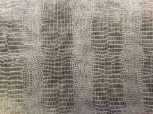 Load image into Gallery viewer, Designer Silver Greige Gray Alligator Reptile Animal Pattern Faux Leather Upholstery Vinyl