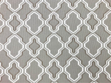 Load image into Gallery viewer, Water & Stain Resistant Indoor Outdoor Taupe Brown White Trellis Geometric Upholstery Drapery Fabric