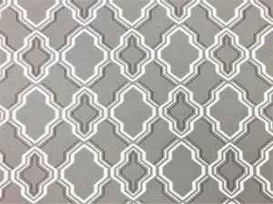 Water & Stain Resistant Indoor Outdoor Taupe Brown White Trellis Geometric Upholstery Drapery Fabric