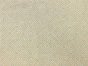 Schumacher Greek Key Hand Printed Beige Sand Ivory Cotton Linen Geometric Upholstery Drapery Fabric