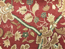 Load image into Gallery viewer, Thibaut Denmark Red & Cream Brown Green Teal Blue Jacobean Floral Linen Cotton Upholstery Drapery Fabric