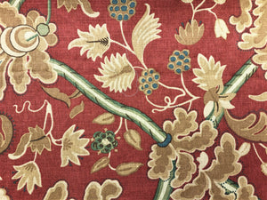 Thibaut Denmark Red & Cream Brown Green Teal Blue Jacobean Floral Linen Cotton Upholstery Drapery Fabric