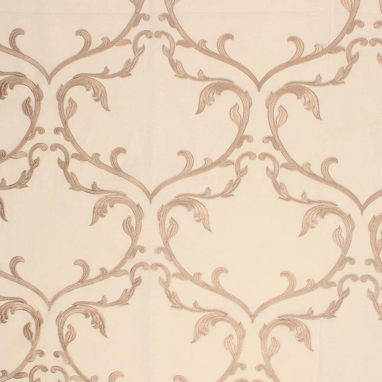 Angelica Beige Embroidered Damask Drapery Fabric / Cream
