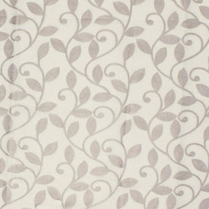 Briarwood White Beige Embroidered Botanical Drapery Fabric / Bone