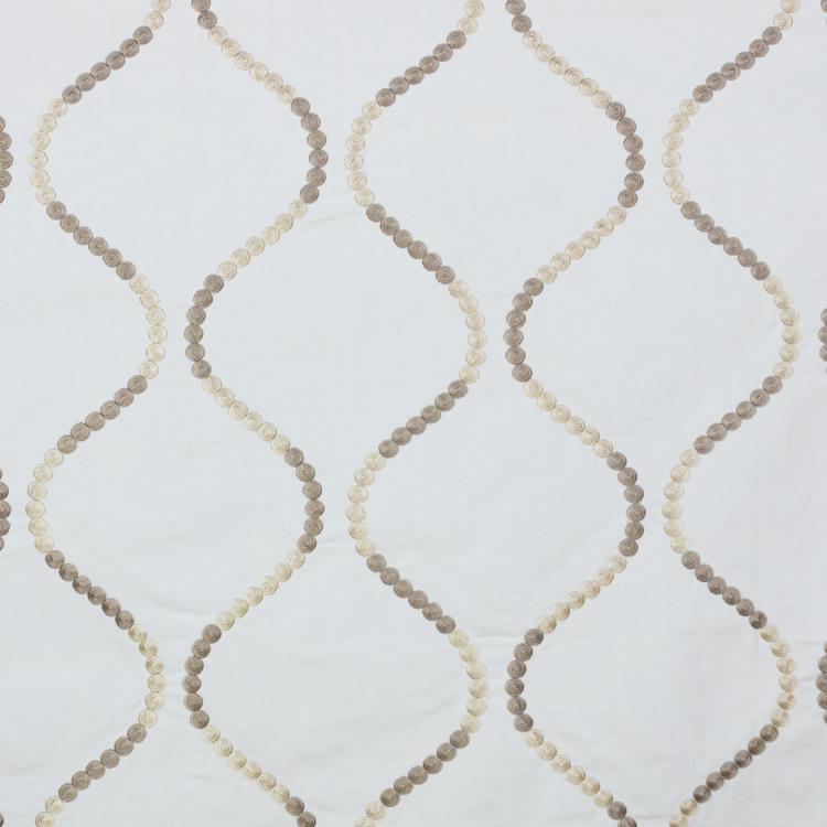Button Trellis White Beige Embroidered Drapery Fabric / Sandstone