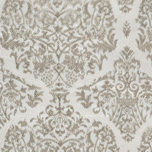 Chalfont Damask Silver Gray Off White Embroidered Drapery Fabric / Silver Oak