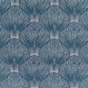 Coquille Blue Nautical Shell Upholstery Fabric / Deep Sea