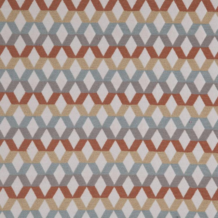 Di Lido Burnt Orange Gray Aqua Geometric Upholstery Fabric / Canyon