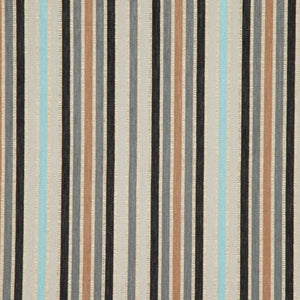 Española Way Gray Black Blue Caramel Stripe Upholstery Fabric / Earth