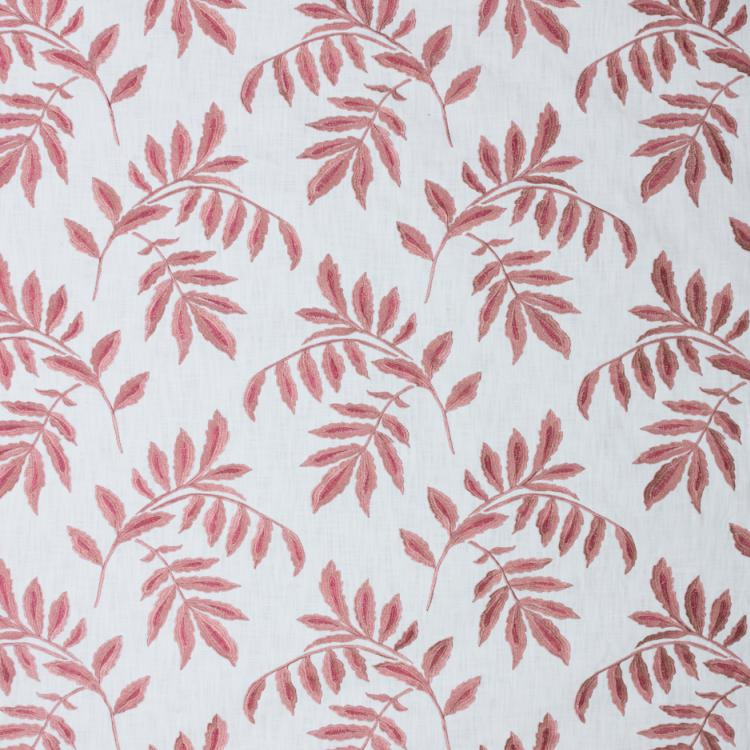 Falling Leaves White Pink Embroidered Cotton Drapery Fabric / Rose Quartz